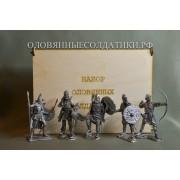 Набор оловянных солдатиков Викинги №6 н/к в фанерной коробке (5 шт)