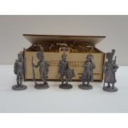 Набор оловянных солдатиков Французы 1812 года №2 н/к в подарочной коробке (5 шт)